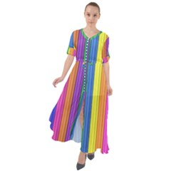 Colorful Spongestrips Waist Tie Boho Maxi Dress