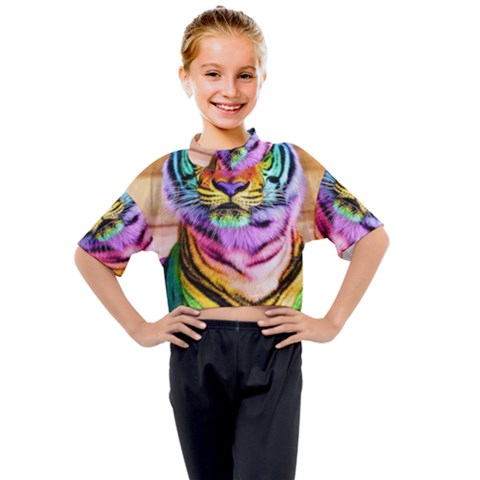 Rainbowtiger Kids Mock Neck Tee by Sparkle