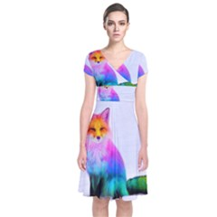 Rainbowfox Short Sleeve Front Wrap Dress