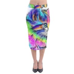 Rainbowcat Velvet Midi Pencil Skirt