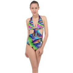 Rainbowcat Halter Front Plunge Swimsuit by Sparkle