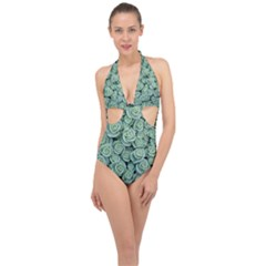 Realflowers Halter Front Plunge Swimsuit