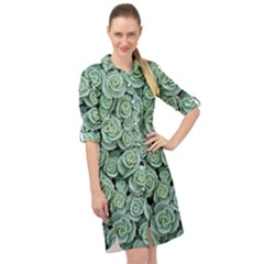 Realflowers Long Sleeve Mini Shirt Dress