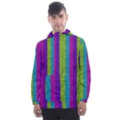 Glitter Strips Men s Front Pocket Pullover Windbreaker