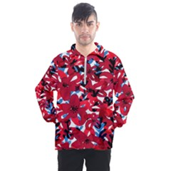 Handpaint Flowers Men s Half Zip Pullover