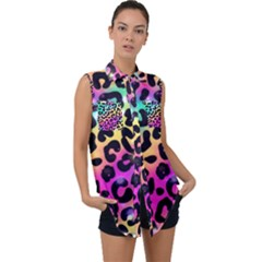 Animal Print Sleeveless Chiffon Button Shirt