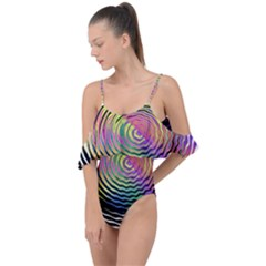 Rainbowwaves Drape Piece Swimsuit by Sparkle