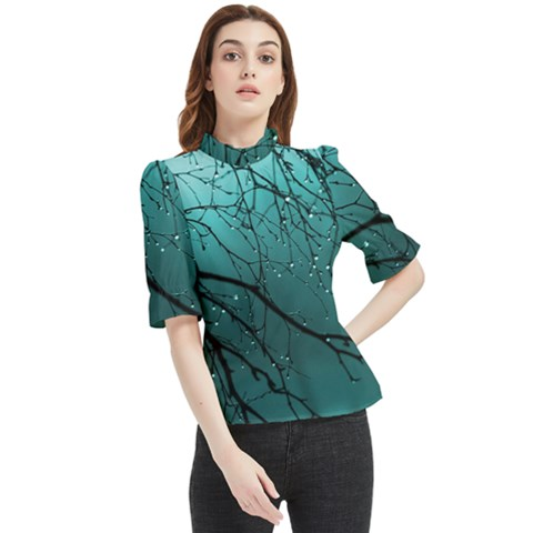 Raindrops Frill Neck Blouse by Sparkle