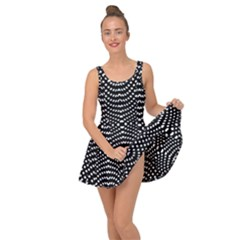 Black And White Geometric Kinetic Pattern Inside Out Casual Dress by dflcprintsclothing