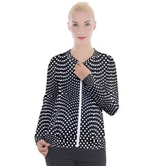 Black And White Geometric Kinetic Pattern Casual Zip Up Jacket by dflcprintsclothing