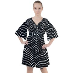 Black And White Geometric Kinetic Pattern Boho Button Up Dress