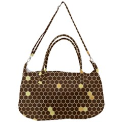 Gold Honeycomb On Brown Removal Strap Handbag