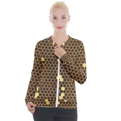Gold Honeycomb On Brown Casual Zip Up Jacket by Angelandspot