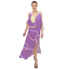 Abstract Purple Pattern Design Maxi Chiffon Cover Up Dress