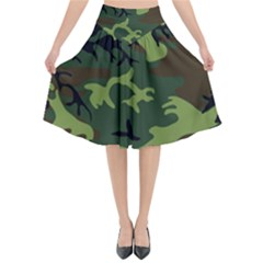 Forest Camo Pattern, Army Themed Design, Soldier Flared Midi Skirt by Casemiro