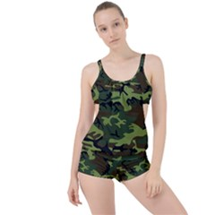 Forest Camo Pattern, Army Themed Design, Soldier Boyleg Tankini Set