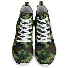 Forest Camo Pattern, Army Themed Design, Soldier Men s Lightweight High Top Sneakers