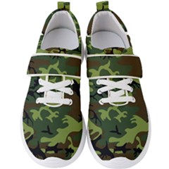 Forest Camo Pattern, Army Themed Design, Soldier Men s Velcro Strap Shoes