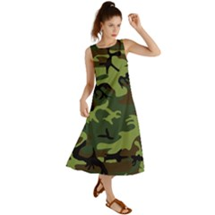 Forest Camo Pattern, Army Themed Design, Soldier Summer Maxi Dress
