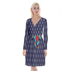 Colorful Diamonds Pattern3 Long Sleeve Velvet Front Wrap Dress