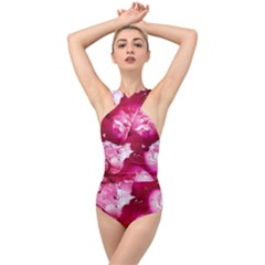 Peonie On Marbling Patterns Cross Front Low Back Swimsuit