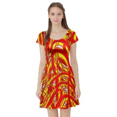 Fire On The Sun Short Sleeve Skater Dress