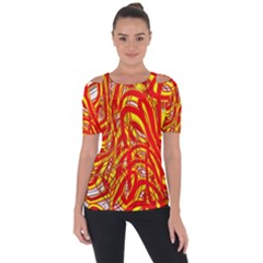 Fire On The Sun Shoulder Cut Out Short Sleeve Top