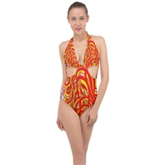 Fire On The Sun Halter Front Plunge Swimsuit