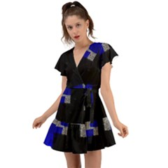 Abstract Tiles  Flutter Sleeve Wrap Dress