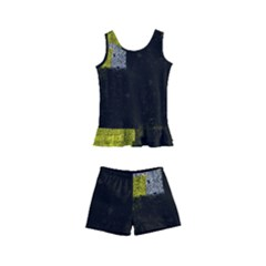 Abstract Tiles Kids  Boyleg Swimsuit