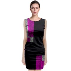 Abstract Tiles Sleeveless Velvet Midi Dress