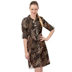 Nature Pattern Inverse Long Sleeve Mini Shirt Dress