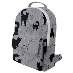 Grey Black Cats Design Flap Pocket Backpack (small)