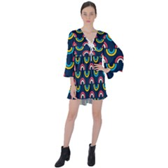 Geo Rainbow Stroke V-neck Flare Sleeve Mini Dress