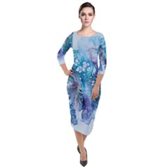 Sea Anemone Quarter Sleeve Midi Velour Bodycon Dress