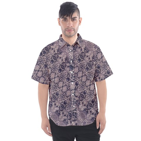 Violet Textured Mosaic Ornate Print Men s Short Sleeve Shirt by dflcprintsclothing