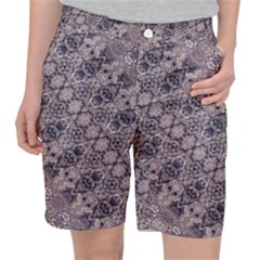 Violet Textured Mosaic Ornate Print Pocket Shorts by dflcprintsclothing