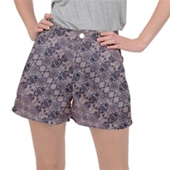 Violet Textured Mosaic Ornate Print Ripstop Shorts by dflcprintsclothing
