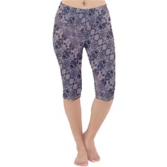 Violet Textured Mosaic Ornate Print Lightweight Velour Cropped Yoga Leggings by dflcprintsclothing