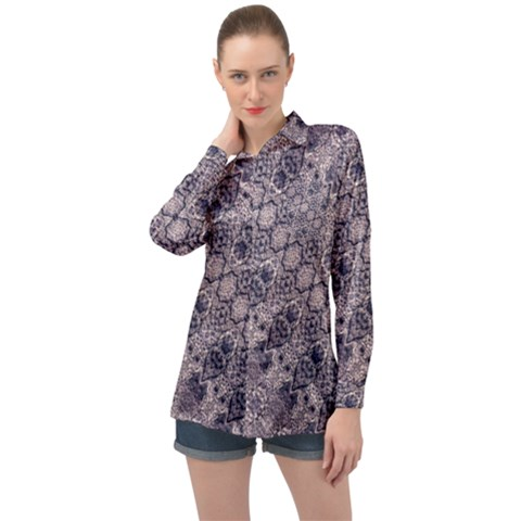 Violet Textured Mosaic Ornate Print Long Sleeve Satin Shirt by dflcprintsclothing