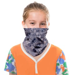 Violet Textured Mosaic Ornate Print Face Covering Bandana (kids) by dflcprintsclothing