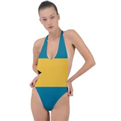 Flag Of The Bahamas Backless Halter One Piece Swimsuit by abbeyz71