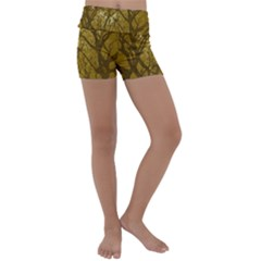 Forest Landscape Illustration 2 Kids  Lightweight Velour Yoga Shorts