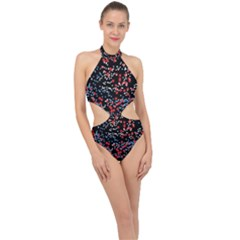 Multicolored Bubbles Motif Abstract Pattern Halter Side Cut Swimsuit