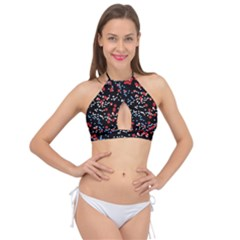 Multicolored Bubbles Motif Abstract Pattern Cross Front Halter Bikini Top