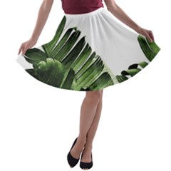 Green Banana Leaves A-line Skater Skirt by goljakoff