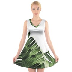 Green Banana Leaves V-neck Sleeveless Dress by goljakoff