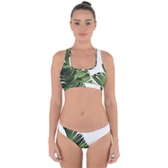 Green Banana Leaves Cross Back Hipster Bikini Set by goljakoff