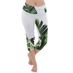 Green Banana Leaves Lightweight Velour Capri Yoga Leggings by goljakoff