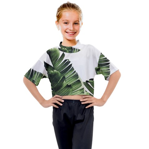 Green Banana Leaves Kids Mock Neck Tee by goljakoff